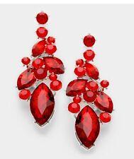 """2.75"""" Long Drop Red Silver Dangle Rhinestone Crystal Teardrop Pageant Earrings"""