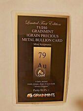 More details for 1 grain 24k gold hand melted sculpture in bullion card