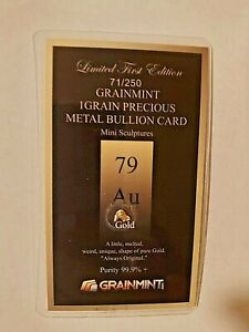 1 grain 24K GOLD Hand Melted Sculpture in Bullion Card
