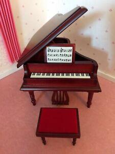 Dollhouse Miniature 2 Pc Grand Piano Set