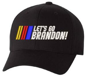 Let's Go Brandon Racing Stripes Embroidered FLEX FIT Hat, FJB JOE BIDEN FU46