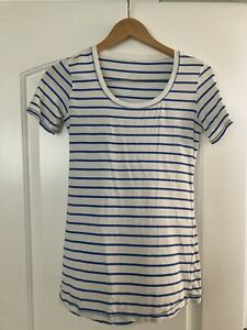 lululemon Top Size 6 White With Blue Stripes