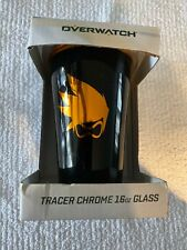 Overwatch Collectible Chrome Pint Glass - Tracer  Logo NIB - 16oz