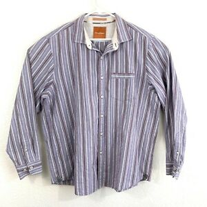 Tommy Bahama Mens Purple Striped Long Sleeve Button Up Shirt Size XL