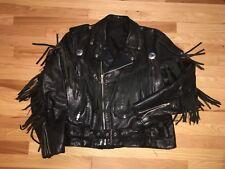 VTG Black Leather Fringe Tassel Motorcycle Biker Jacket British Punk Goth UK 44