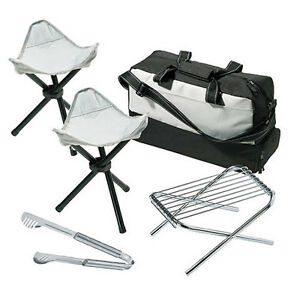 7pc Grill & Cooler Bag Set Tongs 2 Folding Seats 2 Racks & Stand BBQ Barbecue