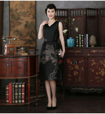 2017 black Chinese women's  100% mulberry silk evening dress Cheongsam L-4XL