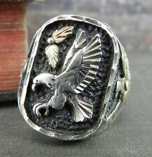 Black Hills Gold Sterling Silver & 12K Eagle Signet Style Ring - Size 10.75