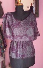 Blusa camicia in seta viola  taglia S/M