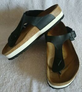 Papillio Womens / Mens Black W White Layer Sole Thong Sandal Sz 9M