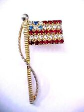 """Vintage 1980's  Rhinestone 1.75"""" American Flag Pin in Gold Tone .. Gorgeous"""