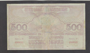 500 MARKA VG BANKNOTE FROM ESTONIA 1920 PICK-49 VERY RARE