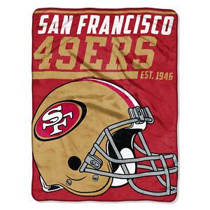 NFL Large Ceiling San Francisco 49ers Silk Throw Blanket 40 Yard Dash Football