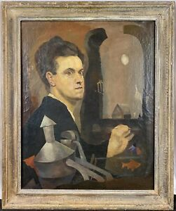 c. 1935 Pietro Lazzari Italian American WPA Surrealist Self Portrait Oil Canvas