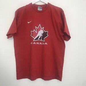 Vintage Nike Teams Canada T-Shirt Swoosh Spell Out Logo 100% Cotton Men's Large