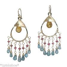 Koh Lipe 37~Mandarin Garnet, Pink Ruby, Apatite Drop Earrings with Metal Choice