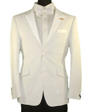 Mens Barabas 7001 Mens Fitted Formal Tuxedo Jacket Sparkling White + Bowtie