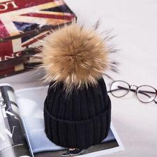 2016 Winter Hat Real Raccoon Fur Pom Pom Bobble Women Knit Beanie Christmas Gift
