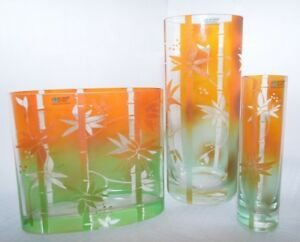 3 Piece Set  Womar Bamboo Orange Green Asian Glass Vases Handmade in Poland