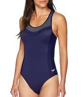 Speedo Womens Swimwear Blue Gray Size 4 Rib Endurance Touchback Swimsuit $78 767