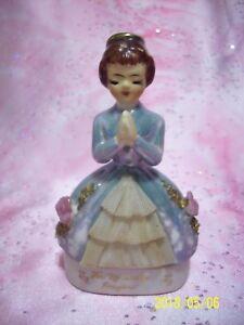 *SUPER RARE VTG * Japan Girl Daily Prayer Trinket Box Figurine