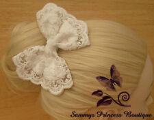 LADIES LARGE WHITE IVORY LACE HAIR BOW CLIP SLIDE SHABBY BOHO WEDDING BRIDAL