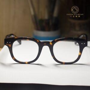 Retro solid acetate eyeglasses frame mens womens tortoise Rectangular RX glasses