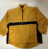 NIKE Youth 10-12 Medium Nylon Pullover Hooded Jacket 1/4 ZIP Yellow Black