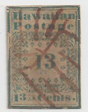 """HAWAII #3 BLUE 13-CENT MISSIONARY WITH TWO CERTIFICATES """"GENUINE"""""""