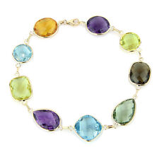14K Yellow Gold Bracelet with Large Multi-Shape and Color Gemstones 8 Inches