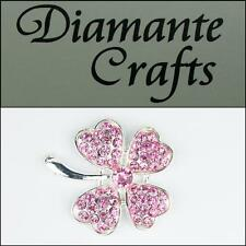 3D Four Leaf Clover Silver Alloy Pink Diamantes DIY Phone Case Deco 2013FLW