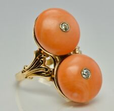 Coral Ring Old mine cut Diamonds 14K Yellow Gold Cocktail Vintage