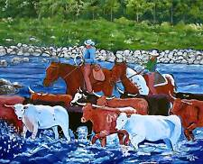 Horse Longhorns Original Western Art PAINTING DAN BYL Contemporary Large 4x5