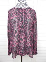 Ann Taylor Loft Sheer Floral Blouse Womens Medium Black Purple Top Casual Shirt