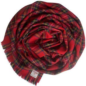 Harris Tweed Royal Stewart Tartan Check Pure Wool Wrap Shawl Oversized Scarf