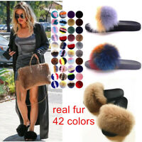 New Real Fox Fur Slippers Sandals Shoes Fluffy Women Lady Slides Luxury Slippers