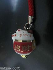 Maneki Neko LUCKY CAT ceramic key bag charm Cell Phone strap#187 Ca un306