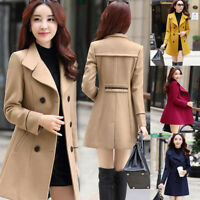 Women Winter Warm Woolen Coat Jacket Trench Coat Parka Overcoat Outwear Slim
