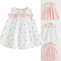 Toddler Kids Baby Girls Casual Solid Bow Floral Suspender Princess Party Dress