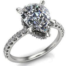 Elizabeth Charles and Colvard Forever Brilliant Pear Moissanite & Diamond Ring