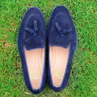Tasseled Loafers Men Belgian Slip On Blue Calf Suede Leather Handmade Shoes
