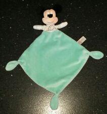 Doudou Mickey Disney Nicotoy plat bleu turquoise rond cube ABCD rayure gris TBE