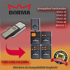 DORMA HS43 - 2E,HS43 - 4E 433,92MHz Kompatibel Handsender, klone, Replacemen