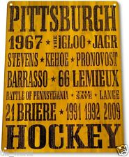 "TIN SIGN ""Pittsburgh Hockey"" Penguins Metal Decor Store Card Puck Shop Bar A571"