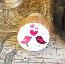 Wine Stopper, Love Birds & Hearts Handmade Wood Bottle Stopper, Valentine's Day