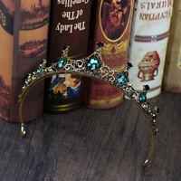 Vintage Small Baroque Green Crystal Bridal Crown Boutique Headwear Wedding Tiara