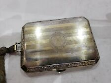 Vintage Cigarette / Card Case Etched Silver & Gold Plated With Chain. Ornate!