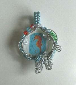 Seahorse Pendant One of a kind Silver Hand Weaved Wire Wrap Wrapped #1667