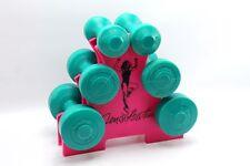 Vintage Denise Austin Pink & Green Plastic Dumbbell Free Weight & Rack