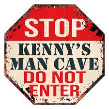 OTGM-0324 STOP KENNY'S MAN CAVE Tin Rustic Sign Man Cave Decor Gift Ideas